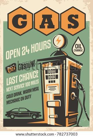 gas station retro poster design....