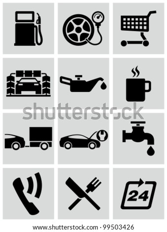 Gas station service icons set.