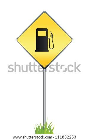 Gas station warning sign. Vector illustration