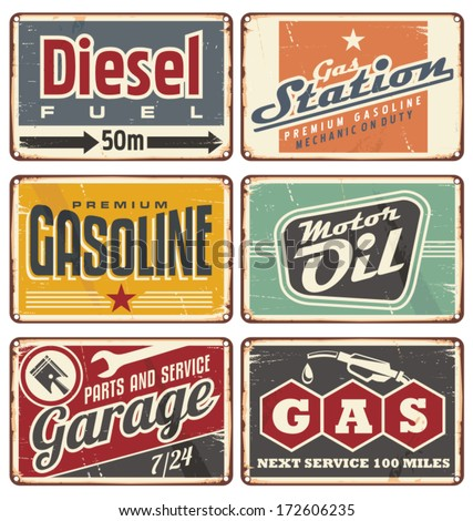 Gas stations and car service vintage tin signs collection. Set of transportation retro metal banners and ads.