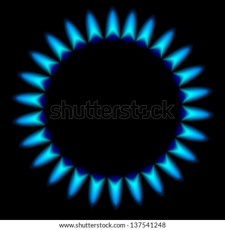 Gas stove burner illustration over dark, Vector