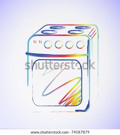 gas stove - hand drawn illustration