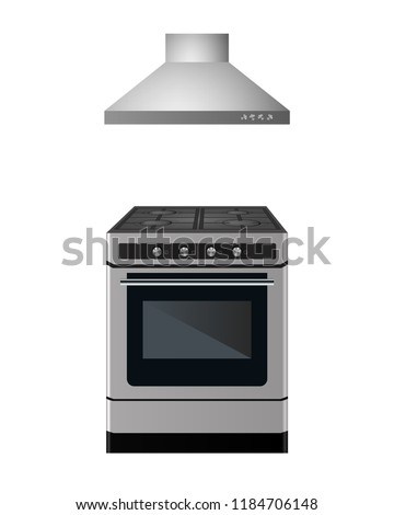 Gas stove with kitchen hood. Vector illustration. Appliances for cooking. Сток-фото ©