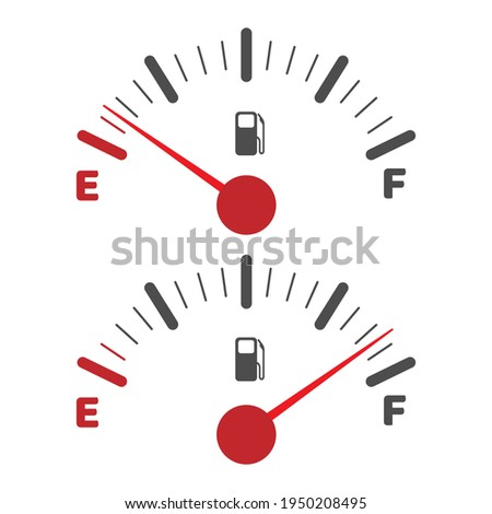 Gas tank indicator icon. Fuel level dial, empty and full indices indicators vector image, car fulling or vehicle gasoline dashboard symbols ストックフォト ©