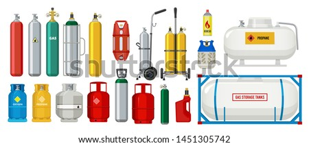 Gas tanks. Compressed oxygen propane dangerous cylinder tanks vector cartoon collection. Propane in cylinder, compressed gas illustration Foto stock ©