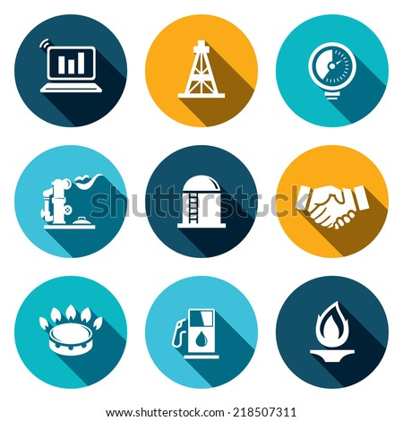 gas trade vector flat icon set