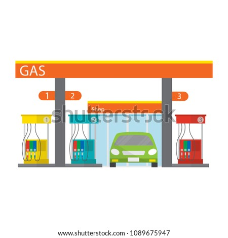 Gasoline and oil station with car and shop in flat style,Vector illustration.