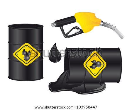 gasoline barrel with gasoline pump isolated. vector illustration