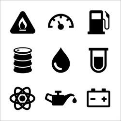 Gasoline Diesel Fuel Service Station Icons Set. Vector illustration
