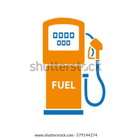 Gasoline fuel pump isolated. Gas or petrol filling station vector icon.