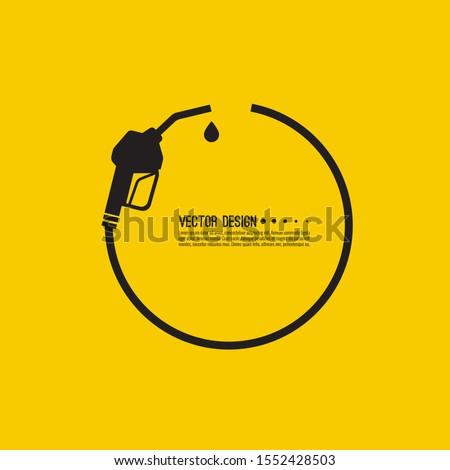 Gasoline pump nozzle sign. Fuel pump petrol station. Vector refuel service illustration.