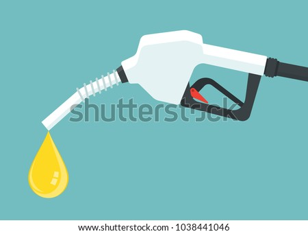 Gasoline pump nozzle with oil dripping. Vector illustration