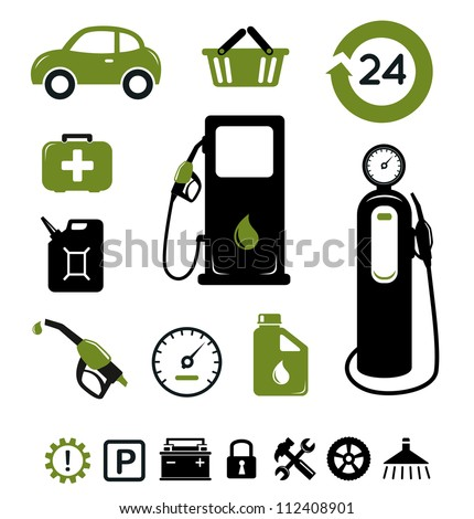 Gasoline station icons set
