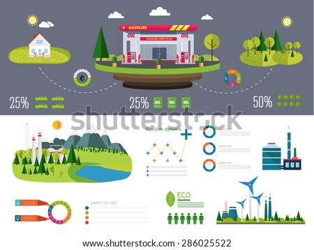 gasoline station infographics