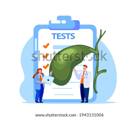 Gastroenterologist Scientist Doctor Examine Gall Bladder Tests,Analysis.Gall Organ Gallstone,Cholecystitis Research.Labolatory Clinical Investigation.Lab Medical Council Diagnostic.Vector Illustration Foto stock ©