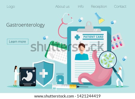 Gastroenterology landing page vector. Flat tiny stomach doctor, medical online consultation, diet concept. Tract system examination and ultrasound xray diagnosis. #1421244419