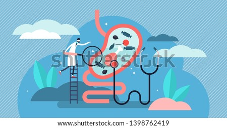 Gastroenterology vector illustration. Flat tiny stomach doctor persons concept. Medical internal organs disease health care. Tract system examination and ultrasound xray diagnosis and food suggestions