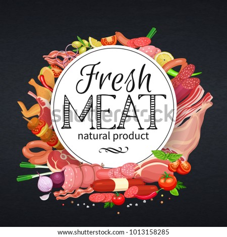 Gastronomic meat products with vegetables and spices banner template for food meat production, brochures, banner, menu and market design. Vector Illustration.