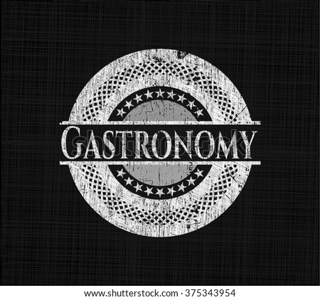 Gastronomy chalkboard emblem on black board