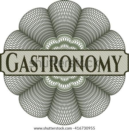 Gastronomy inside money style emblem or rosette