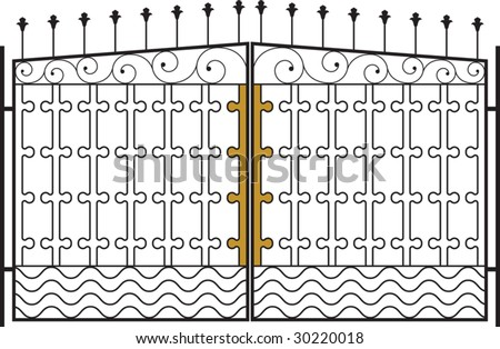 Gate, Fence, grill design - stock vector