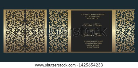 Gate fold laser cut wedding invitation card template. Vector template for cutting. Design for laser cut or die cut template. Ornamental wedding invite mockup.