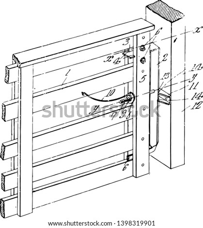 Gate Latch is s device for holding a door latch fastener holdfast latch Lock vintage line drawing or engraving illustration