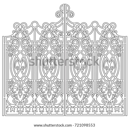 gate with forged ornaments on a ...