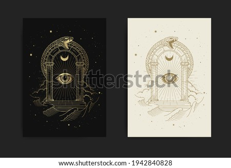 Gates of The universe with eye of god and snake ornament with engraving, handrawn, luxury, esoteric, boho, magic style, fit for paranormal, tarot card reader, astrologer or tattoo