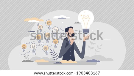 Gather ideas and choose best from many after brainstorm tiny person concept. Creative and innovative process with critical thinking vector illustration. Many light bulbs as unrealized bright thoughts.
