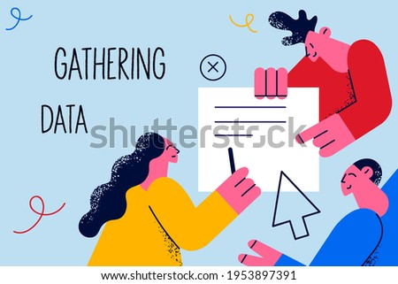 Gathering data, marketing, business concept. Team business partners workers cartoon characters holding document with marketing data together discussing things with lettering vector illustration