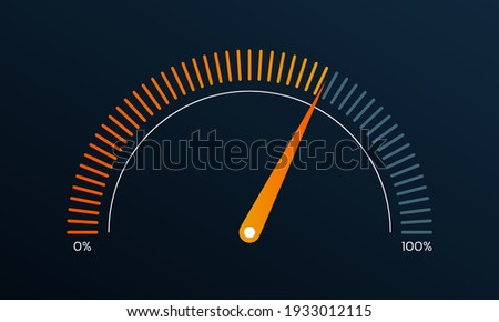 Gauge or meter indicator. Speedometer icon with red, yellow, green scale and arrow. Progress performance chart. Vector illustration. Stock photo ©