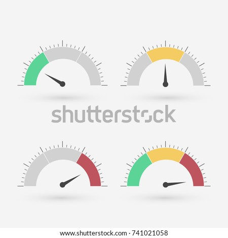 Gauge set with scale and green yellow and red part