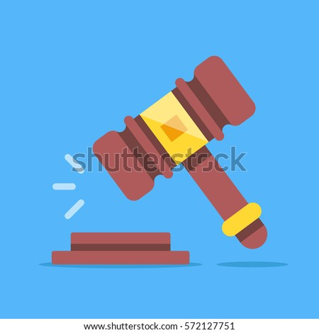 Gavel icon. Court, judgment, bid, auction concepts. Judge gavel, auction hammer. Flat icon. Modern flat design graphic elements. Vector illustration.