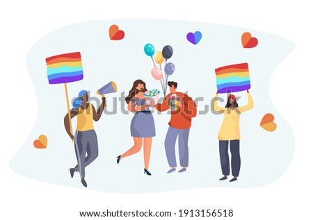 Gay and Lesbian Holding Rainbow Love Flag.LGBT Gay Pride.Homosexual People on Valentines Day.Sexual Orientation.LGBT Community Support.Human Rights.Sexuality Identity.Flat Cartoon Vector Illustration. Foto stock ©