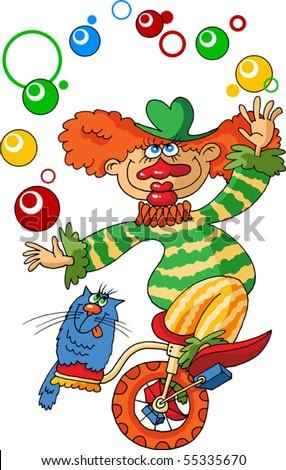 stock vector : gay clown rides a bicycle and juggling balls;