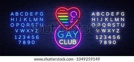 Gay club neon sign. Logo in neon style, light banner, billboard, night bright advertising for gay club, lgbt, party, gay society. Same-sex love. Vector illustration. Editing text neon sign