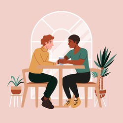 Gay couple on a date at cafe. First date or valentines day. Romantic scene with lgbt family, marriage. Two men drinking coffee, talking and smiling, holding hands.