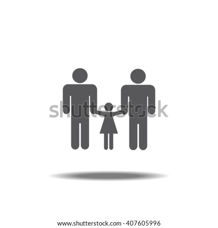 Gay Couple With Daughter Single Icon