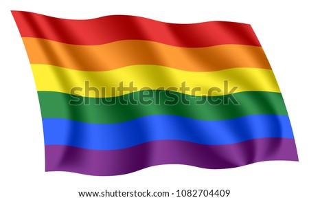 Gay flag. Rainbow flag. Lesbian, gay, bisexual, transgender (LGBT) flag. Flag of gay pride.
