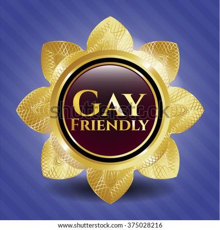 Gay Friendly golden badge or emblem