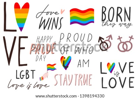 Gay hand written lettering set. LGBT rights concept. Love is love. Pride rainbow spectrum flag, homosexuality, equality emblem. Parades event announcement banner, placard typographic vector design