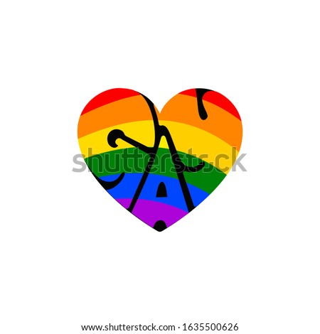 Gay in heart. six colour in heart. gay typo. gay typo in heart. LGBT valentine's day.