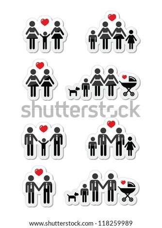 Gay, lesbian couples and family with children icons set