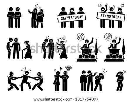 Gay man social problems and life hurdles. Illustrations depict homosexual men facing social difficulties, acceptance, rejections, and bullying.