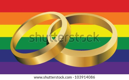 Gay Marriage Rings - stock vector