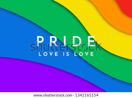 Gay Pride banner. Paper cut rainbow spectrum flag, homosexuality emblem. LGBT rights concept. Modern parades poster, placard, invitation card design