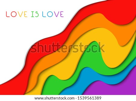 Gay Pride banner. Paper cut rainbow spectrum flag, with the words love is love, homosexuality emblem. LGBT rights concept. Modern parades poster, placard, invitation card design