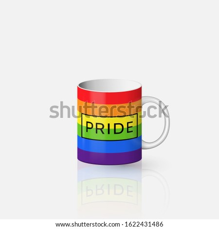 Gay Pride lettering and lgbt rainbow spectrum flag on ceramic mug template. Homosexuality emblem on porcelain cup mock up. LGBT rights concept. Modern parades paraphernalia design