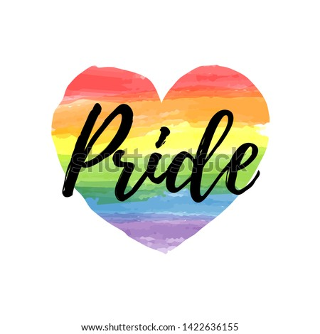 Gay Pride lettering on a watercolor rainbow spectrum heart shape. Homosexuality emblem isolated on white. LGBT rights concept. Modern parades poster, placard, invitation card, t-shirt  print design.